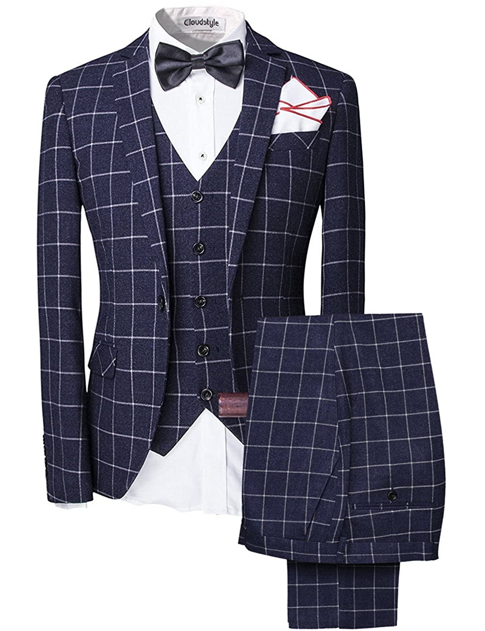 Cloudstyle Men's Vintage 3 Piece Tweed Suits Slim Fit One Button Plaid Wedding Prom Party YD1607