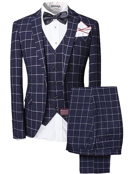 De Hombre Vintage Tweed de 3 Piezas Trajes Slim Fit Uno Botón Plaid Boda Prom Party