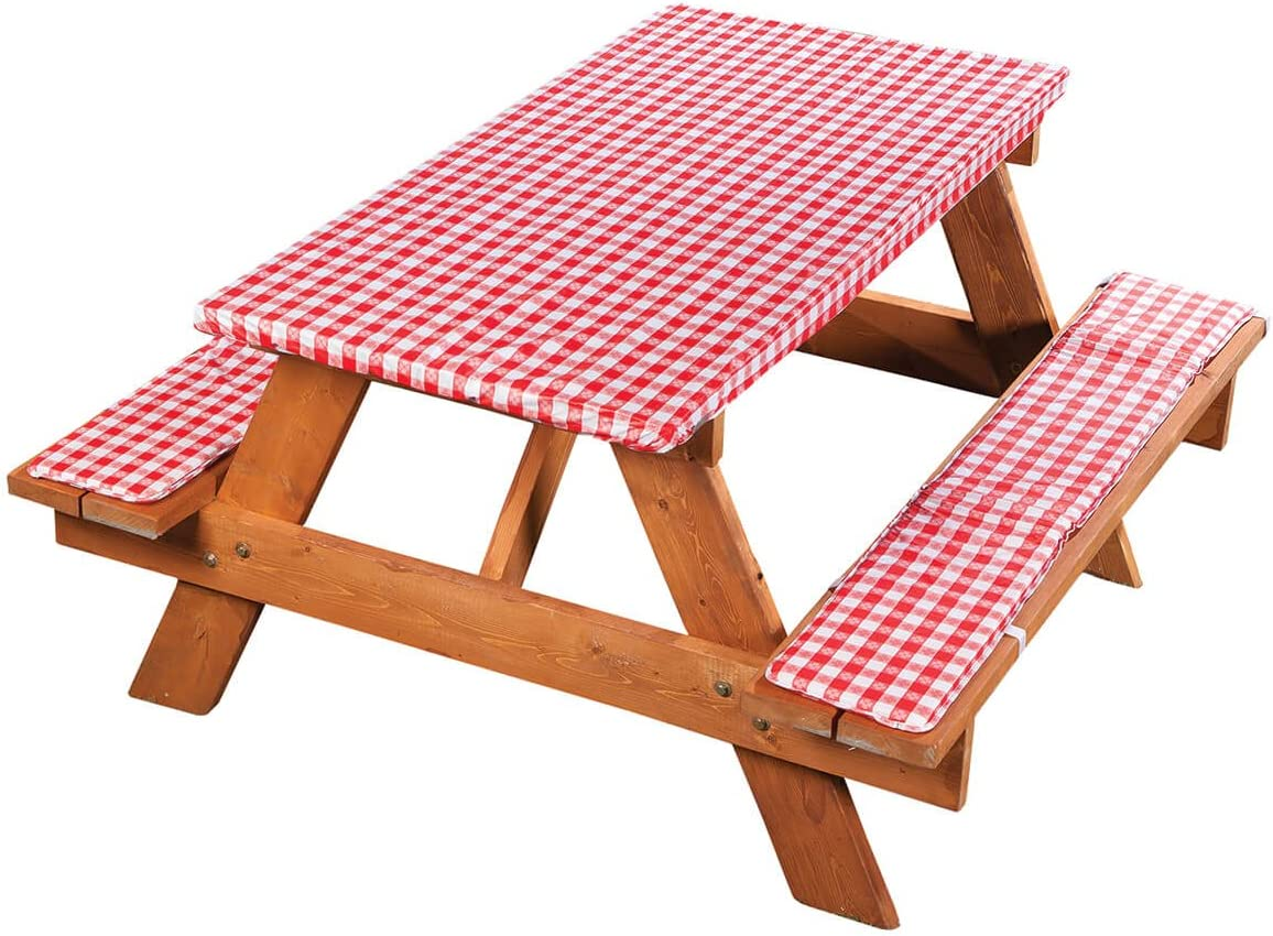 Deluxe Picnic Table Cover with Cushions, 3-Piece Set, Red Gingham