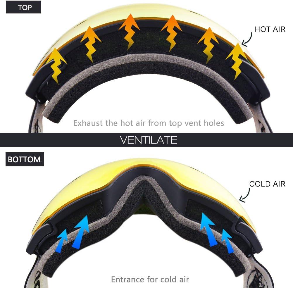 YAKAON OTG Ski Goggles UV Protection Snowboard Goggles Frameless Spherical Anti-Fog Lens for Men Women Yout