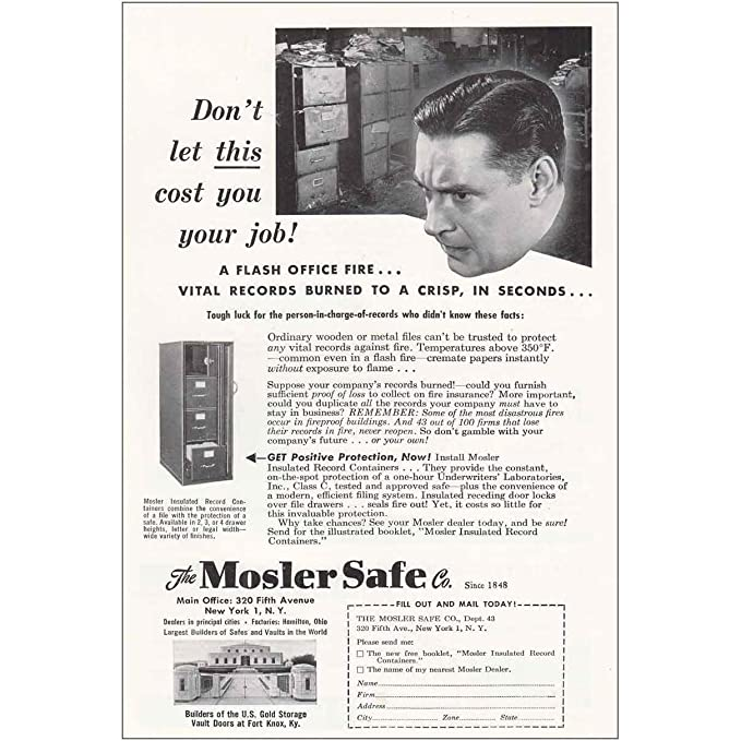 Amazon com: RelicPaper 1950 Mosler Safe: Don't Let This Cost