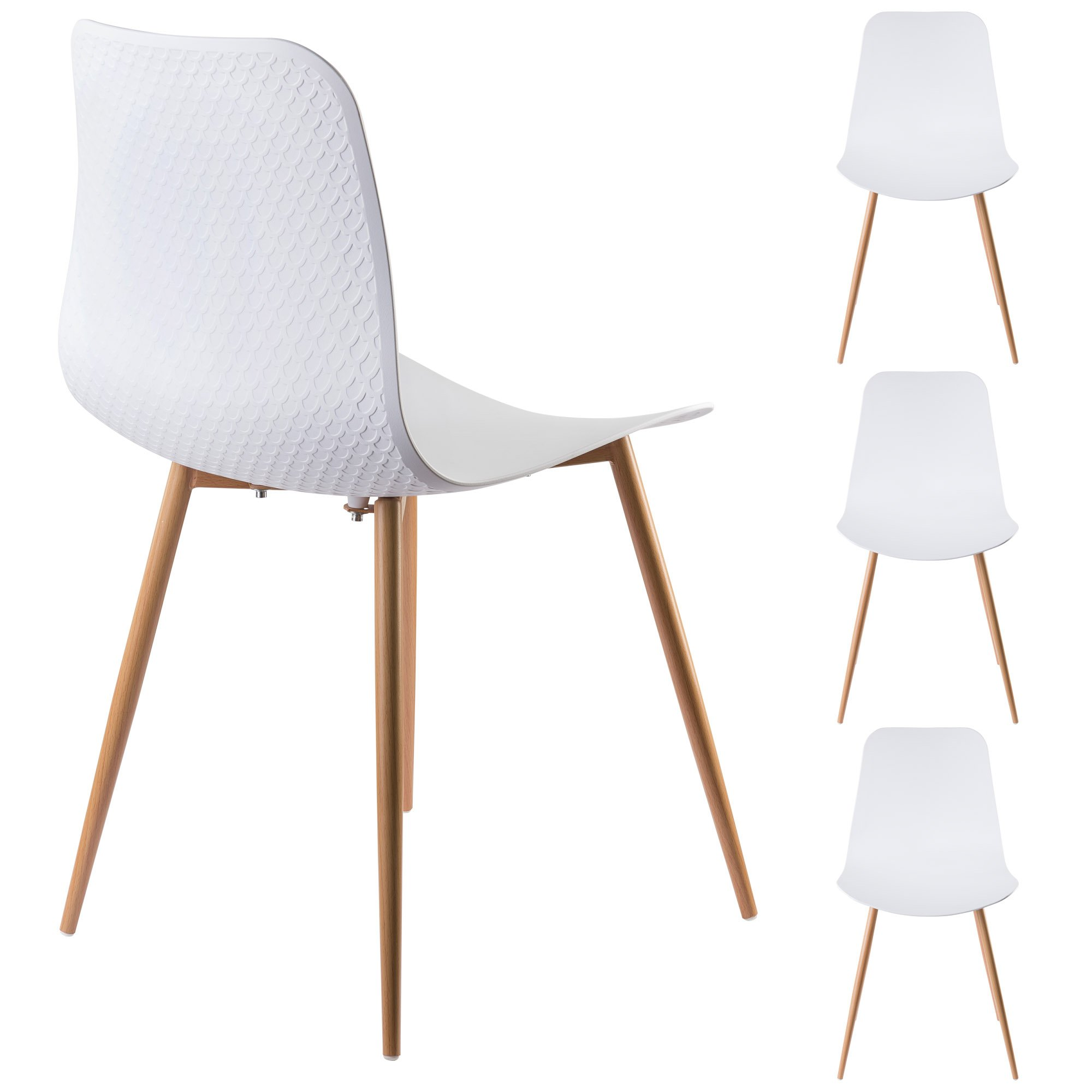 Viola Set of 4 White Dining Chairs - Mid Century Modern Style Armless Side Chairs Molded Easy Clean Plastic Shell with Wood Tone Legs by Linea di Liara LL-CH1658-WHITE