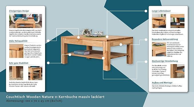 Couchtisch Wooden Nature 11 Kernbuche massiv lackiert - Abmessung ...