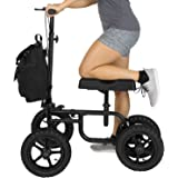 Vive Knee Walker - Steerable Scooter For Broken Leg, Foot, Ankle Injuries - Kneeling Quad Roller Cart - Orthopedic Seat Pad For Adult and Elderly Medical Mobility - 4 Wheel Caddy Crutch - (12in Black)