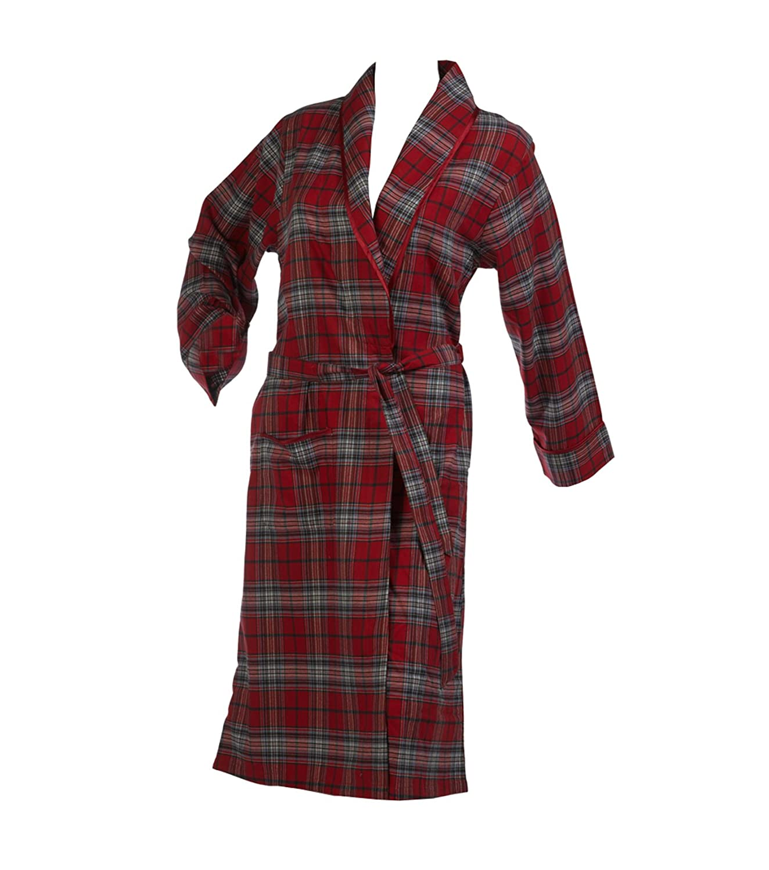 Waite Ltd Ladies Combed Cotton Tartan Check Dressing Gown Satin ...