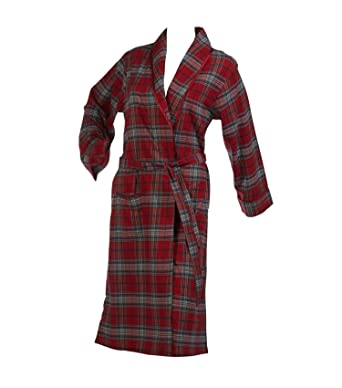 56535bd4d4 Waite Ltd Ladies Combed Cotton Tartan Check Dressing Gown Satin Style Trim Womens  Bath Robe Red (Extra Large)  Amazon.co.uk  Clothing