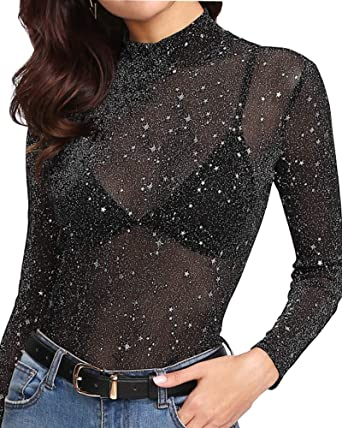 Women Long Sleeve Mesh Sheer Casual Tops Ladies  Holiday Party Shirt Blouse Tee