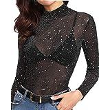MANGOPOP Women's Long Sleeve Short Sleeve Glitter Sheer Mesh Tops T Shirt Blouse Clubwear