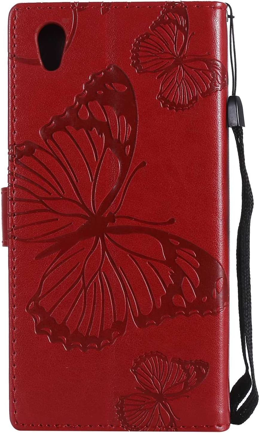 Card//ID Holder Wallet Flip Case Drop Proof For Sony Xperia L1 // E6 Case -Red High Quality Pu Leather Sony Xperia L1 // E6 Case Cover Casake