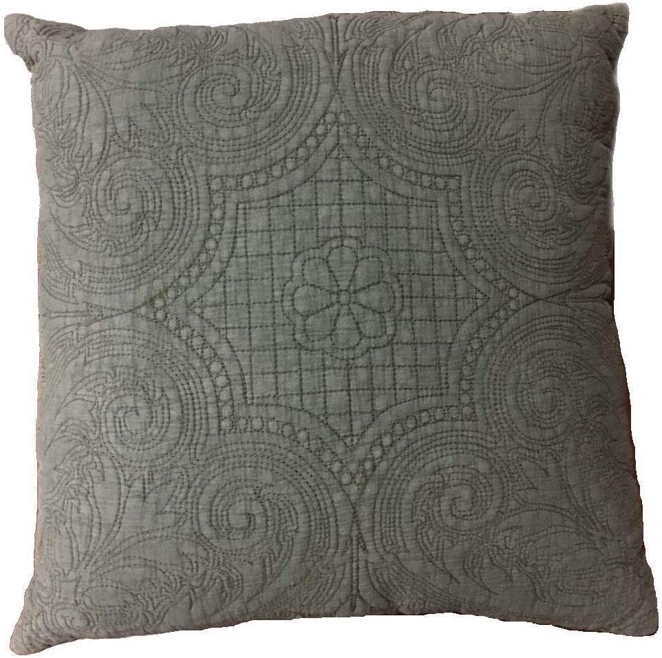 KASENTEX Stone-Washed Country-Chic 100 Cotton Polyester Fill Pillow, Traditional Floral Embroidery Patterned, 18 x18 , Clay Brown