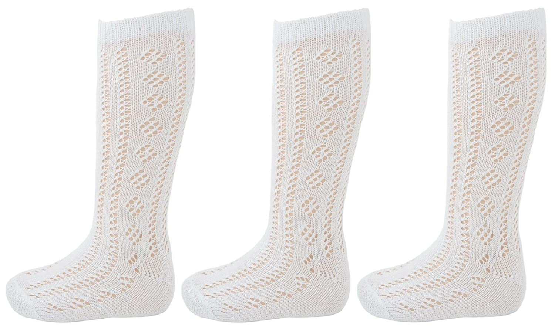 3 Pairs Drew Brady Girls Knee High White Pelerine School Socks 76/% Cotton