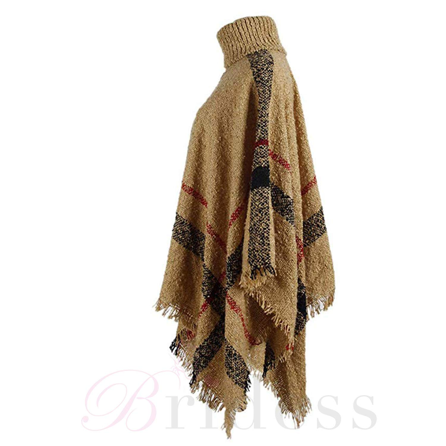 Bridess Womens Winter Sweater Knitted Tassel Poncho Batwing Plaid Pullover Shawl Cloak