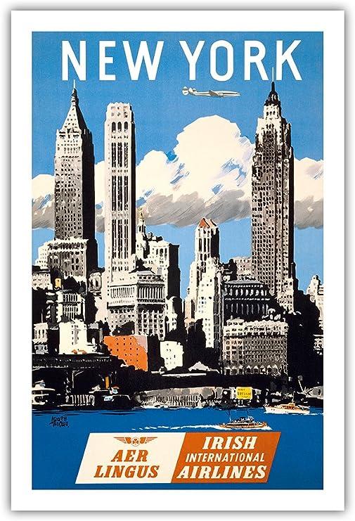 New York USA Manhattan Vintage Airline Travel Art Poster Print Giclee