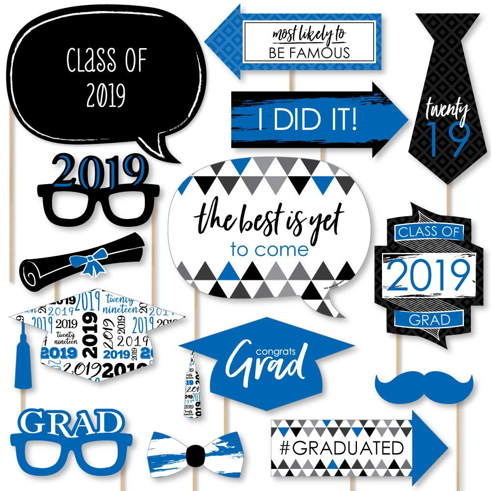 Big Dot of Happiness Blue Grad - Best is Yet to Come - Royal Blue 2019 Graduation Party Photo Booth Props Kit - 20 Count by Big Dot of Happiness (Image #1)