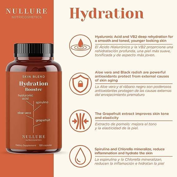 Ácido Hialurónico Nullure Prevención Antiarrugas Natural - Ácido Hialurónico + Espirulina + Chlorella + Vitamina B3 + Rábano Negro + Extracto de ...