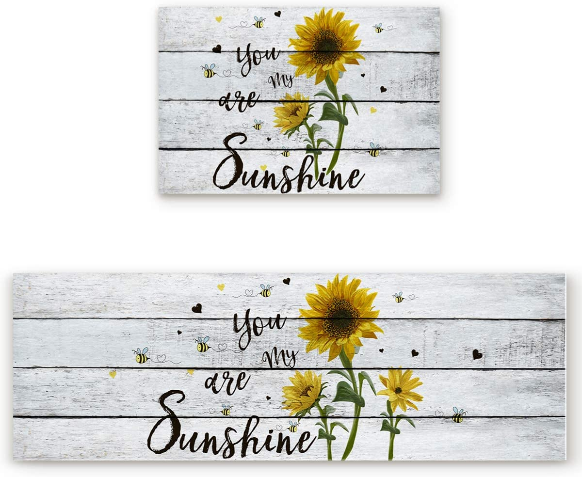 Z&L Home Kitchen Rug Sets 2 Piece Floor Mats Non-Slip Rubber Backing Area Runners Sunflowers Bee on Wooden Doormat You are My Sunshine Indoor Washable Carpet Door Mat Pad