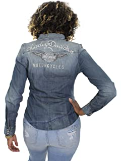 8e1d3a46204d Harley-Davidson Womens Genuine Classic Winged B S Distressed Woven Shirt  99159-17VW