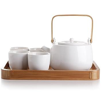 Amazoncom Casaware Serenity 7 Piece Tea Pot Set White Kitchen