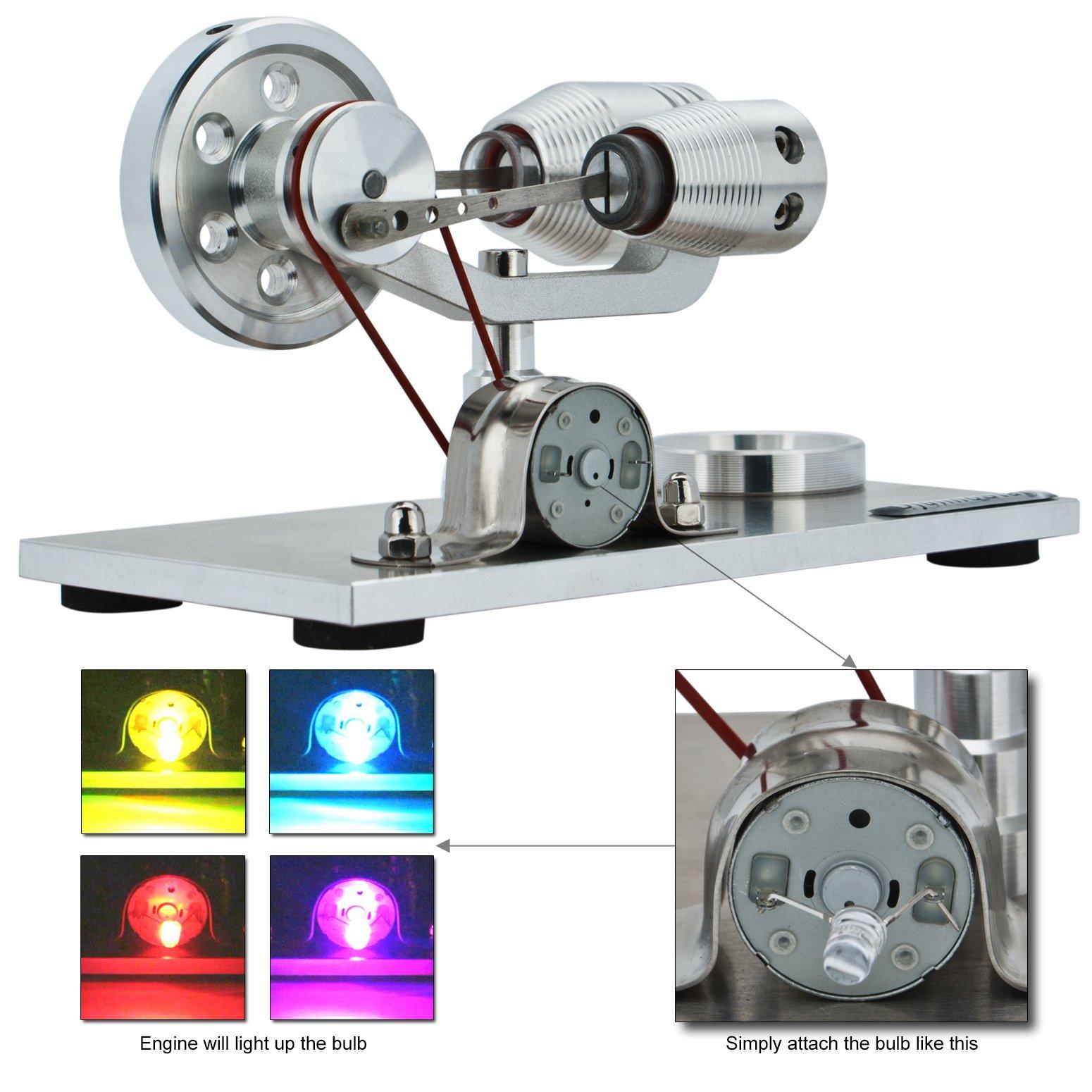 DjuiinoStar Hot Air Stirling Engine, Solid Metal Construction, Electricity Generator(Assembled), My First Stirling Engine by DjuiinoStar (Image #4)