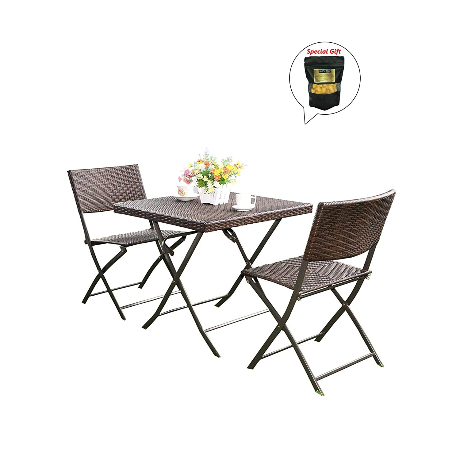 Amazon com 3 pc brown outdoor folding table chair furniture set rattan wicker bistro patio bonus free ebook by allgoodsdelight365 garden outdoor