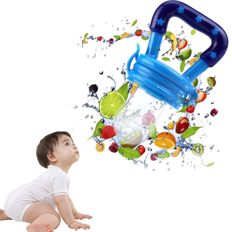 Blau Yisscen Frischkost Schnuller mit 3 verschiedenen Gr/ö/ßen Silikon Sch/ätzchen Schnuller Ersatz S, M, L - Baby Zahnen Nibbler Bei/ßring Schnuller f/ür Obst und Gem/üse Baby Fruchtsauger Schnuller