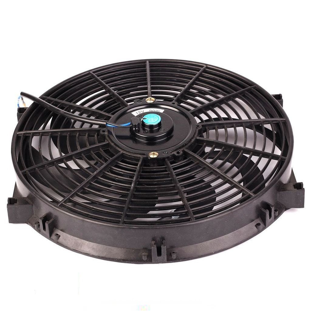 14'' inch Slim Fan Push Pull Electric Radiator Cooling Fans 12V Mount Kit Unversal Black
