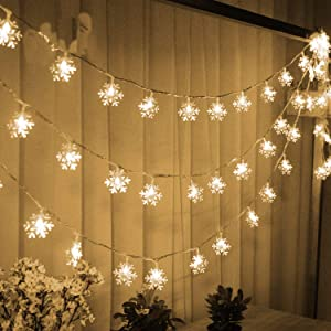 WesGen Christmas Lights,Snowflake String Lights Battery Operated Waterproof 20ft, 40 LED Fairy Lights for Xmas Garden Patio Bedroom Party Decor Christmas Decorations,Yellow