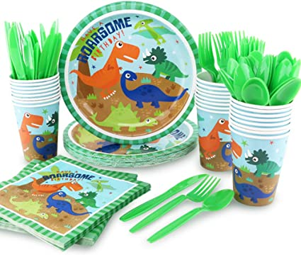 Amazon.com: hapycity 144Pack Dinosaur Party Supplies Set Serves 24 ...