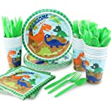 HAPYCITY 144Pack Dinosaur Party Supplies Set Serves 24 Perfect Dinosaur Birthday Packs Including Plates Napkins Cups Forks Sp