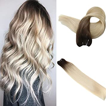 Easyouth Human Hair Weave Real Extensions 20 Inch Color 7B Brown Fading To  613 Yellow Blond