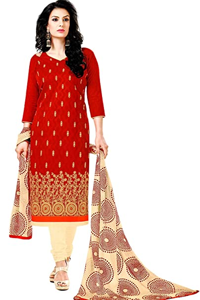 20091d3ff3 HemV Creations Women's Red Cotton Heavy Embroidered Salwar Suit Designer Dress  Material Unstitched with Printed Dupatta: Amazon.in: Clothing & Accessories