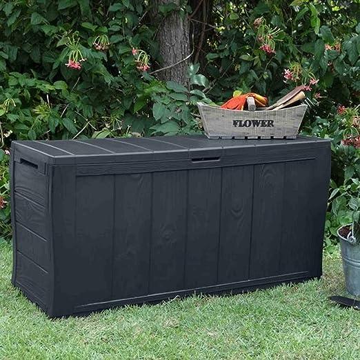 Gris Keter Efecto de Madera Caja de Almacenamiento de jardín de plástico.: Amazon.es: Jardín