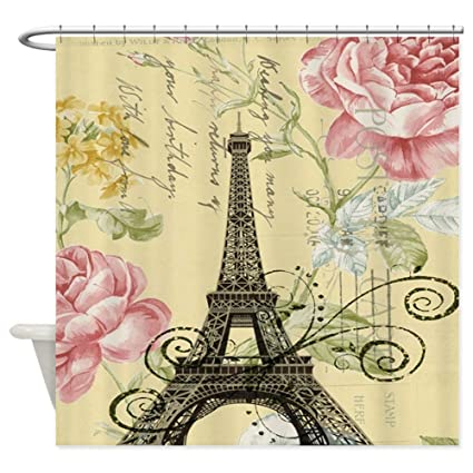 Image Unavailable Not Available For Color CafePress Pink Floral Modern Paris Eiffel Tower Shower Curta Decorative Fabric Curtain