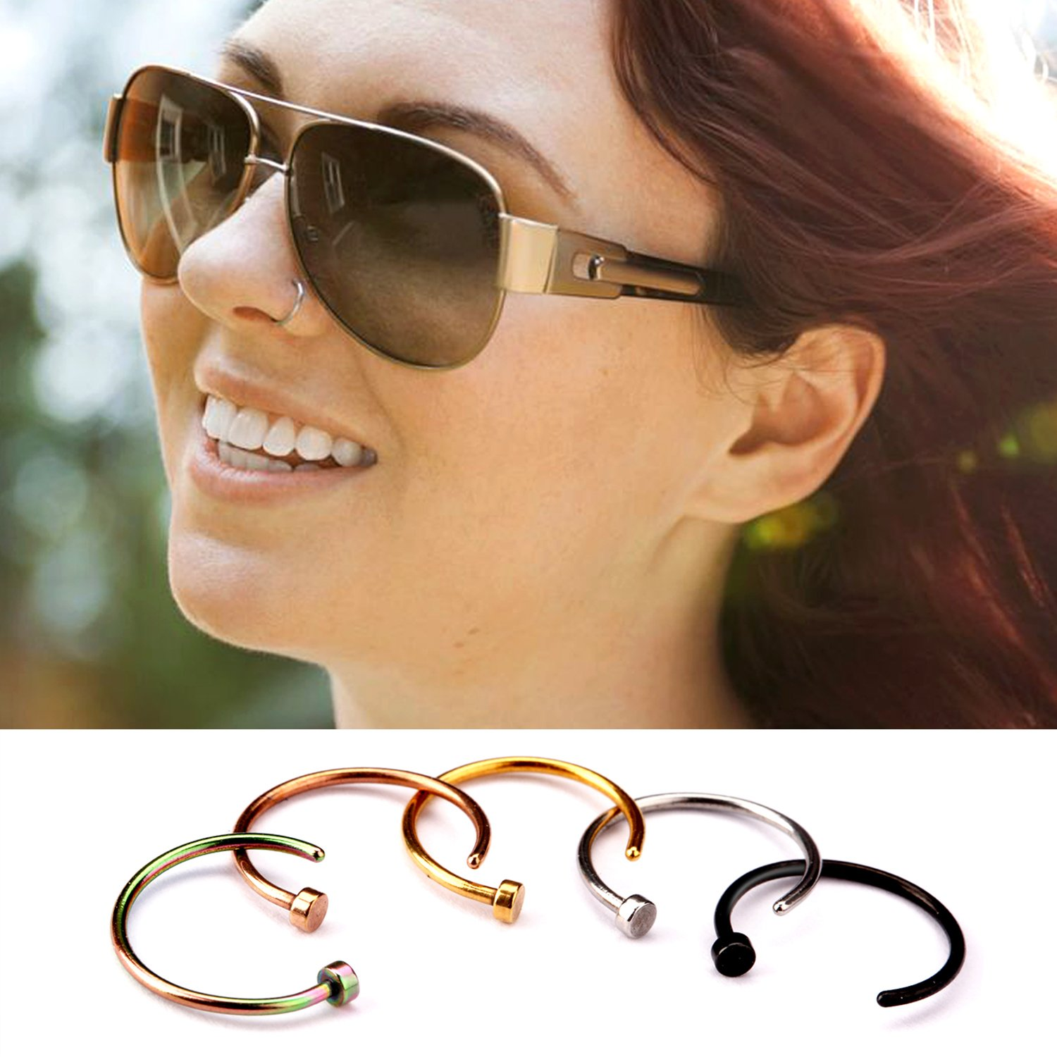 UHIBROS Nose Ring Hoop, 5 Pcs a Set 316L Stainless Steel Nose Rings Hoop Nose Piercing Body Jewelry,Unisex (Sliver)