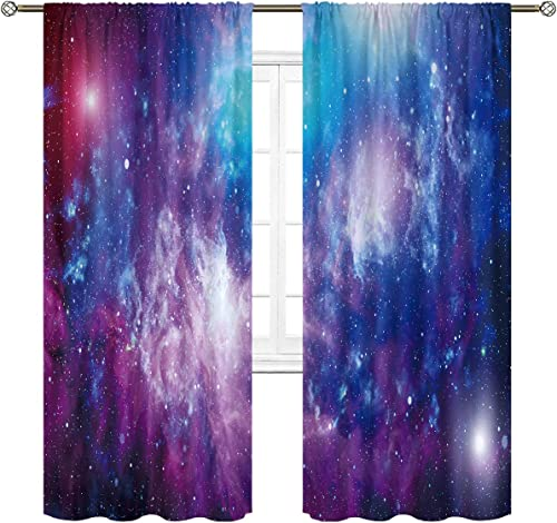 Cinbloo Galaxy Curtains Rod Pocket Universe Planet Outer Space Star Sky Starry Psychedelic Waterproof Art Printed Living Room Bedroom Window Drapes Treatment Fabric 2 Panels 52 W x 84 L Inch