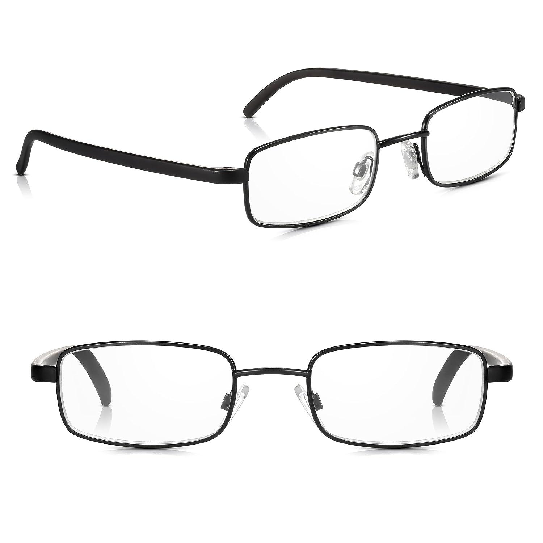 8741196a7e4 Read Optics 2 Pack Black Framed Metal Reading Glasses for Men Women   Non-Prescription Reader Spectacles with Premium 2.00 Clear Lenses (1.0 to  3.5).