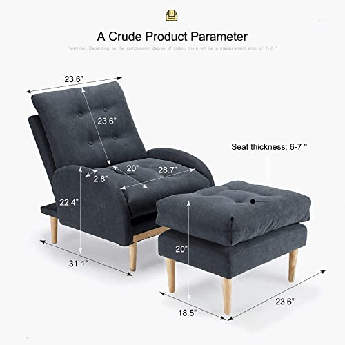 oneinmil Fabric Recliner Chair Adjustable Home Theater Seating Single Recliner Sofa