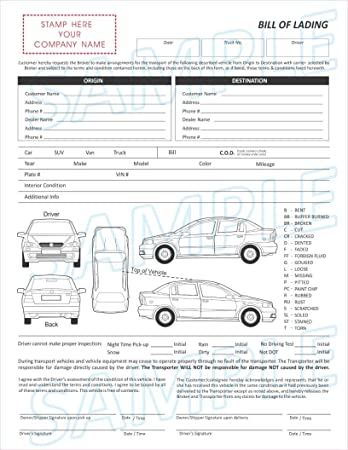 Amazon.com : 3 Part Vehicle Transport Bill of Lading Form : Office ...