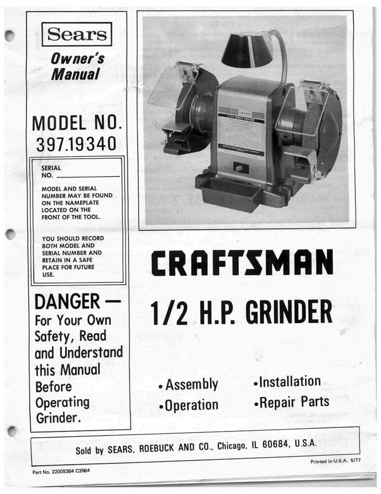 stand grinder owners manual pedestal craftsman interior sears bench