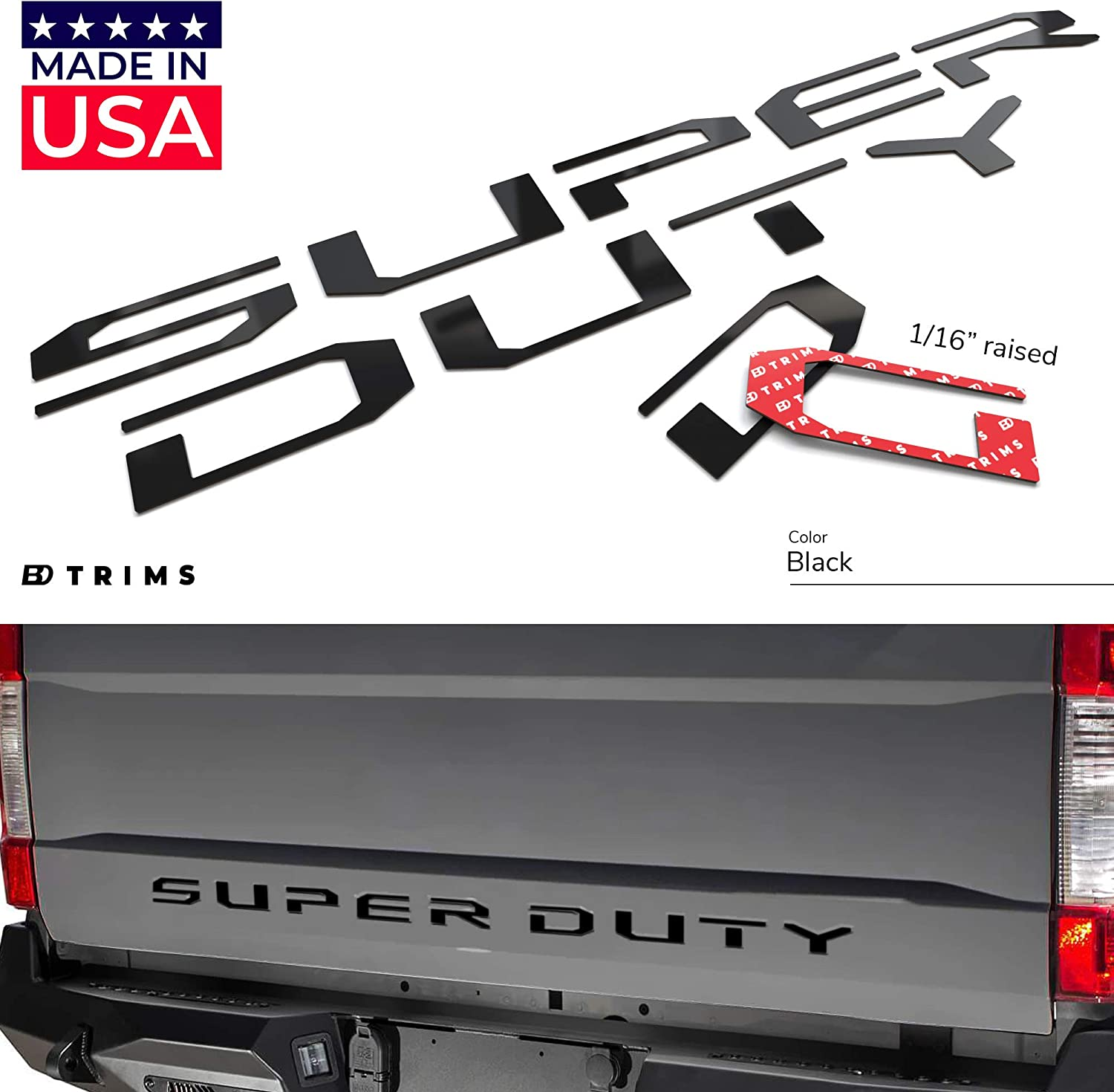 BDTrims Tailgate Raised Letters Compatible with Super Duty Models 2017-2019 (Black)