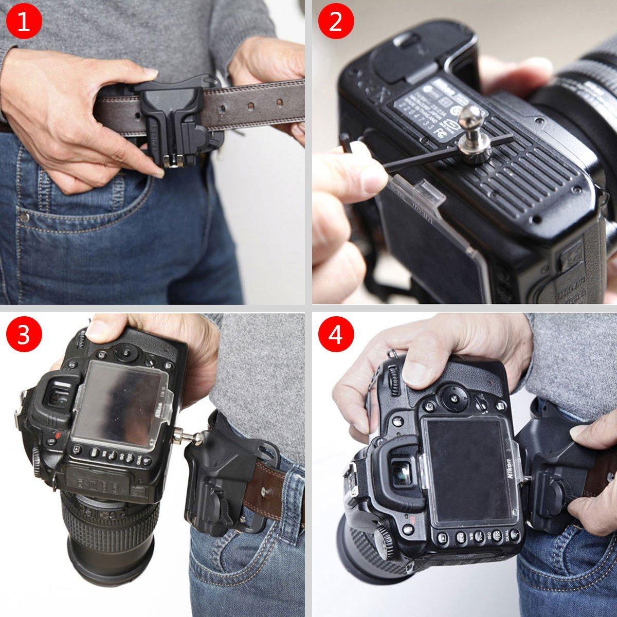 Quick Release Pl/ástico duro Correa de cintur/ón presilla hebilla para Canon Nikon Sony DSLR