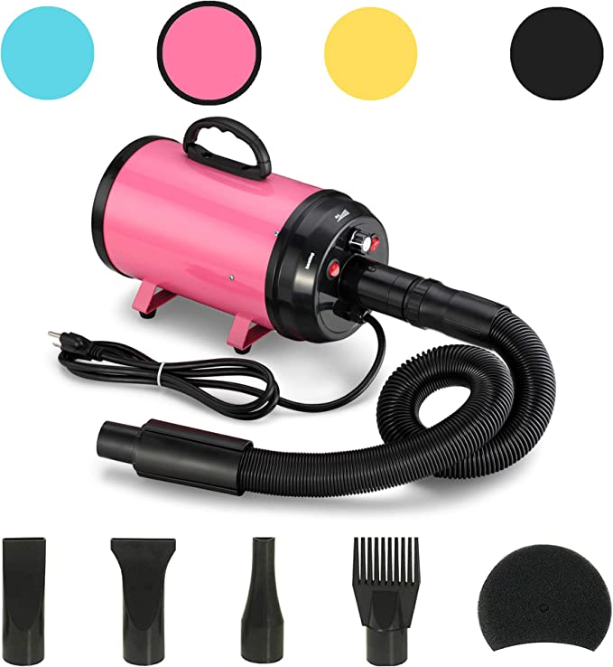 JY QAQA PET 3.2 Hp Pet Dog Grooming Hair Dryer/Heater/2400w High-Power Stepless Adjustable Speed Temperature Motor 4 Different Nozzles