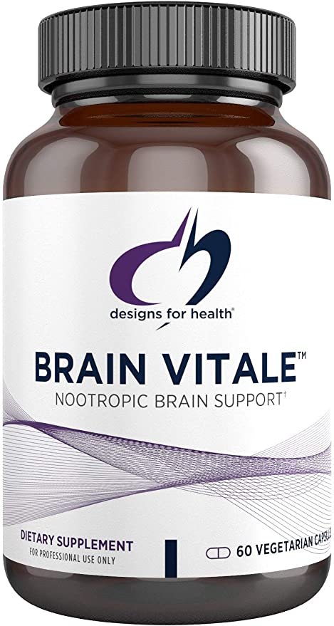 Designs for Health Brain Vitale with Cognizin Citicoline - 'Nootropic' Supplement to Help Support Cognition, Mood + Memory with GPC Choline, Ginkgo + Acetyl L Carnitine HCL (60 Capsules)