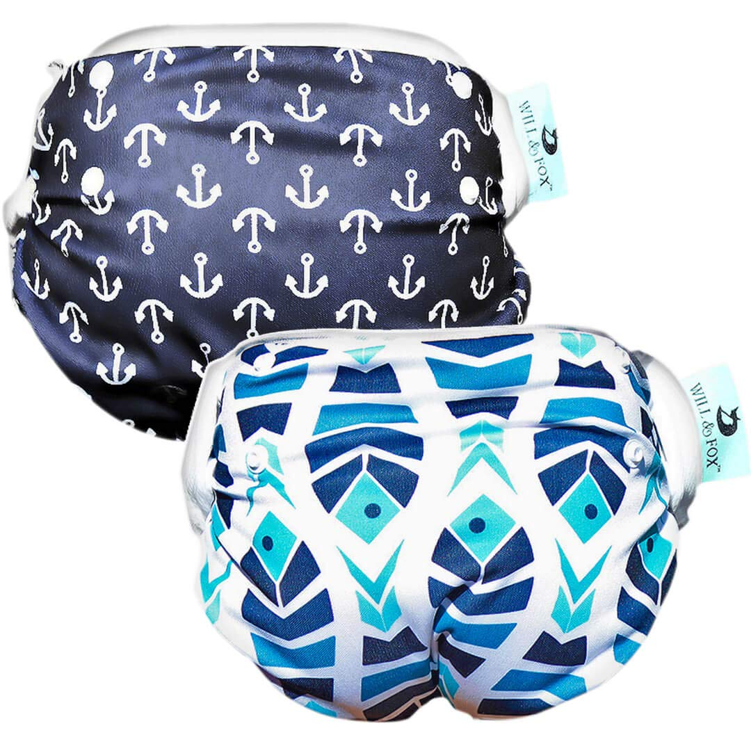 Baby Boys Swim Diapers 2Pack Reusable Premium Stylish- One Size Adjustable N-5 1 x Anchors + 1 x Fish) Will & Fox