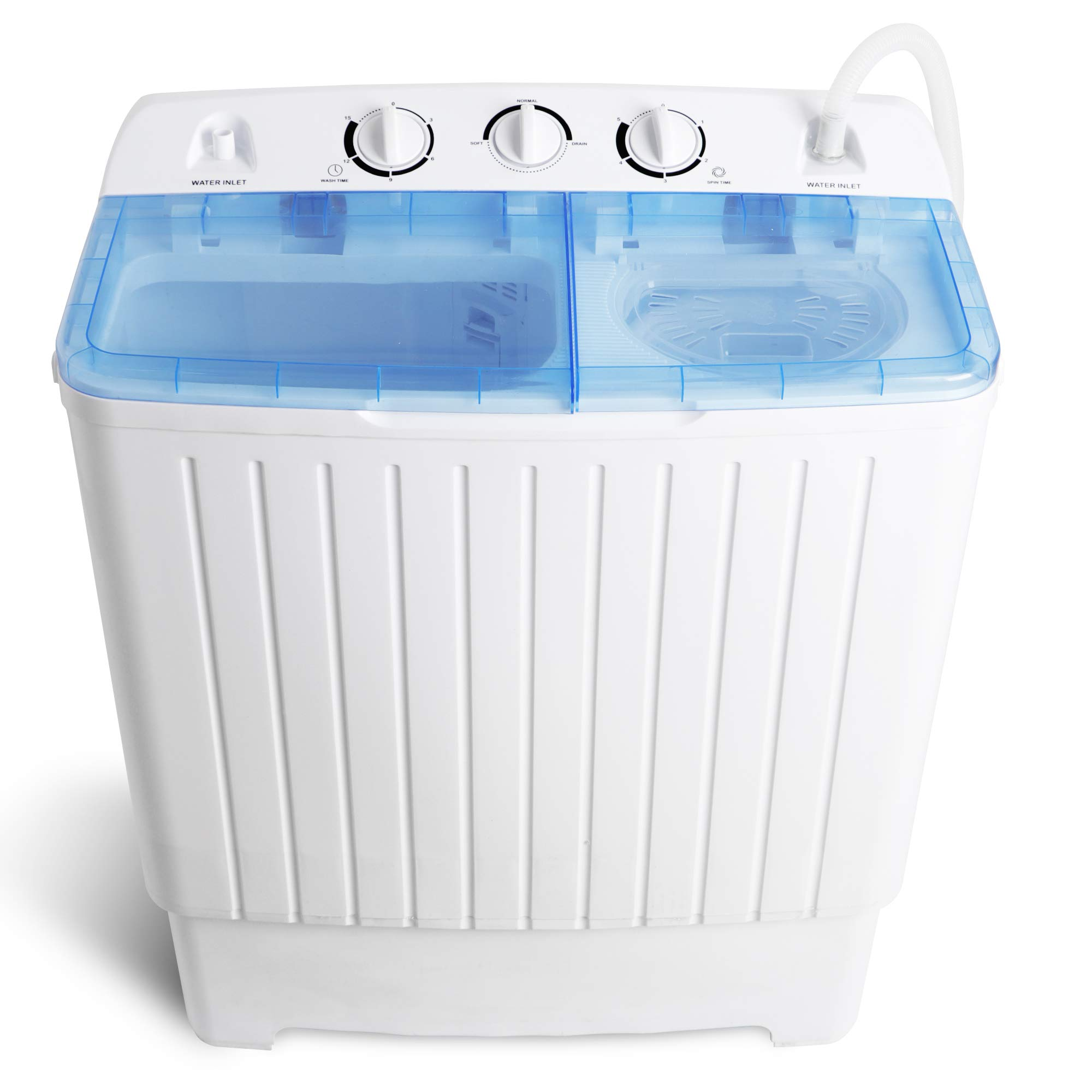 SUPER DEAL Portable Washer Mini Twin Tub Washing Machine 17.6 lbs w/78.8'' Inlet Hose, Gravity Drain Pump, For Camping, Apartments, Dorms, College Rooms, RV's, Delicates and more by Super Dea