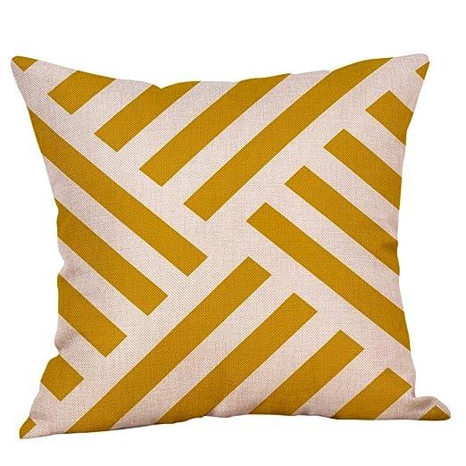 LONUPAZZ funda de almohada Mostaza Amarillo lino geométrica ...