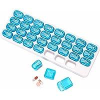 Medicatiebox voor 30 dagen Pil Organizer Box Draagbare pillendoos Pillendoosje 30 vakken voor medicijnen, visolie…