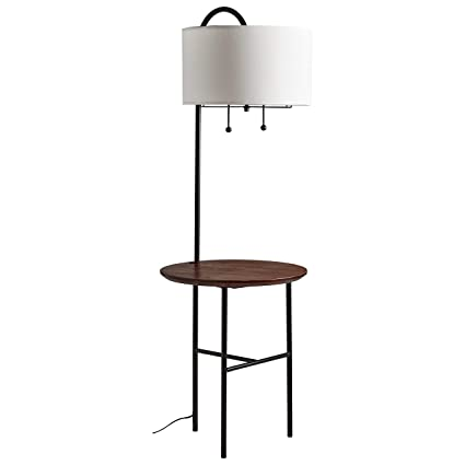 Rivet Modern Floor Lamp With Wood Shelf 59h With Bulb Black With