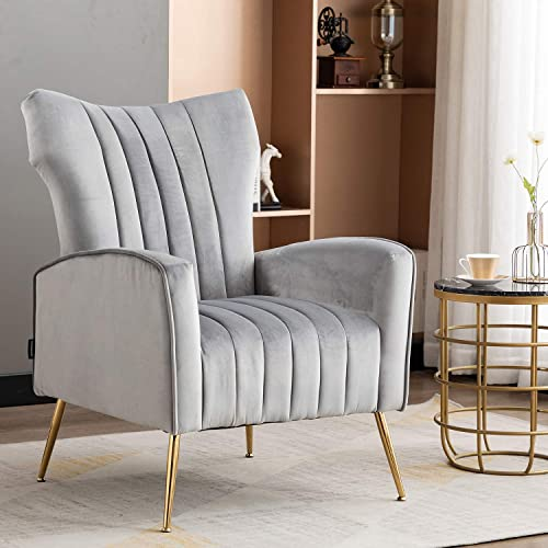 Artechworks Curved Tufted Accent Chair with Metal Gold Legs Velvet Upholstered Arm Club Leisure Modern Chair for Living Room Bedroom Patio, Grey