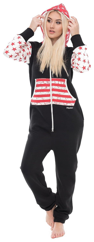 00f14e72afa6af Loomiloo Jumpsuit Freizeitanzug Overall Hausanzug Einteiler Strampler Anzug  Pyjama Sonntag Schriftzug/USA US Flagge 12519112017